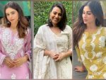 Mouni Roy Swara Bhasker And Aamna Sharif In Light Ethnic Suit
