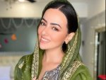 Wajah Tum Ho Actress Sana Khan In A Grey Ensemble And Green Dupatta