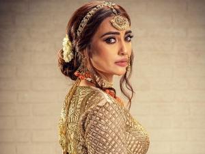 Naagin Actress Surbhi Jyoti In An Embellished Peach Orange Bridal Lehenga