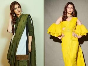 Kriti Sanon S Dark Green And Bright Yellow Saree On Instagram