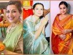 Vidya Balan Kangana Ranaut And Sonali Bendre In Saree For Ganpati Celebration
