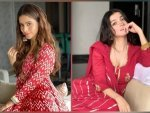 Aamna Sharif And Divya Khosla In Red Ethnic Suit For Ganpati Celebration