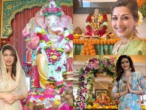 Sonali Bendre Priyanka Chopra And Karishma Tanna In Ethnic Outfits For Ganesh Chaturthi
