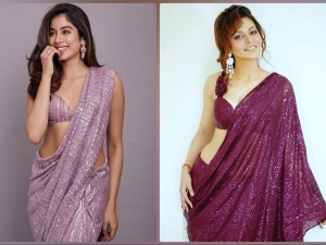 Urvashi Rautela And Janhvi Kapoor In A Purple Sequin Saree