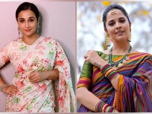 Vidya Balan In A Floral Saree And Anasuya Bharadwaj In A Multicolour Saree