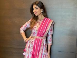 Shilpa Shetty In Punit Balana S Pink Kurta Set For Ganpati Celebrations