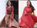 V Actress Aditi Rao Hydari In Red Ethnic And Indo Western Ensembles