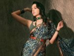 Bhuj Actress Nora Fatehi In A Regal Printed Silk Saree For India S Best Dancer