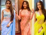 Naagin Actress Surbhi Chandna In Peach Yellow And Blue Sarees