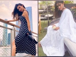 Brahmastra Actress Mouni Roy In A White Ethnic Suit And Polka Dot Dress