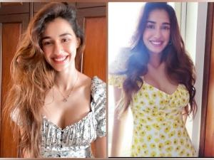 Malang Actress Disha Patani In Grey And Yellow Printed Dresses