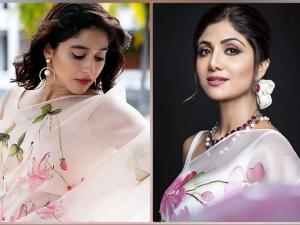 Shilpa Shetty And Regina Cassandra In Picchika S White Floral Saree