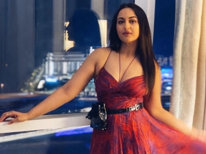 Bhuj Actress Sonakshi Sinha In A Pretty Red Printed Dress