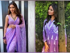 Rashami Desai In A Purple Kurti And Surbhi Chandna In A Purple Saree