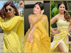 Aamna Sharif Divya Khosla Kumar And Hina Khan S Yellow Outfits