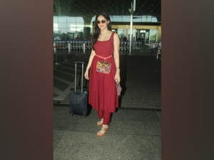 Amyra Dastur Spotted In A Red Kurta Set At The Airport