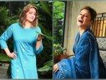 Komolika Aka Urvashi Dholakia In Dark Blue And Light Blue Ethnic Suits