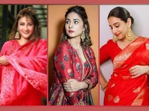 Vidya Balan Hina Khan And Urvashi Dholakia S Red Outfits For Navratri