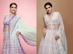 Mohra Actress Raveena Tandon In Lavender And Pristine White Lehengas