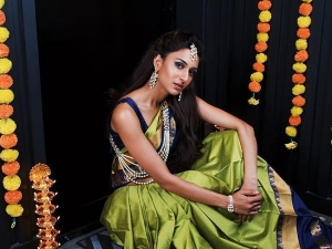 Prerna Sharma Aka Erica Fernandes Give Navaratri Goals In Her Olive Green Saree