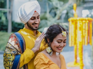 Neha Kakkar And Rohanpreet Singh Twin In Mustard Outfits For Their Haldi Ceremony