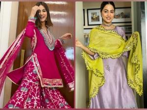 Bigg Boss Senior Hina Khan In Tricoloured Suit And Dark Pink Gharara Set