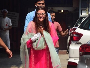 Kajal Aggarwal Spotted In A Pink Suit With Her Mother