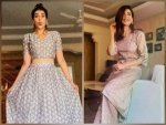 Sanju Actress Karishma Tanna In Printed Ethnic Suit And Crop Top And Skirt
