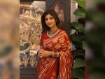 Shilpa Shetty S Maroon Saree Look On Karwa Chauth