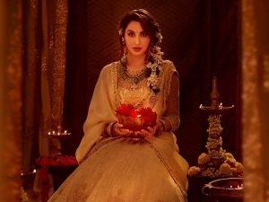 Bhuj Actress Nora Fatehi S Golden Lehenga From Her Diwali Photoshoot