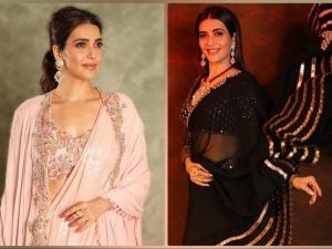 Sanju Actress Karishma Tanna S Pale Peach And Black Saree Looks From Diwali