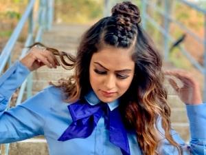 Jamai Raja Actress Nia Sharma S Half Dutch Top Knot Hairstyle