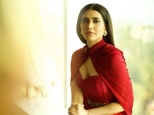 Sanju Actress Karishma Tanna In A Classy Red Cape Gown