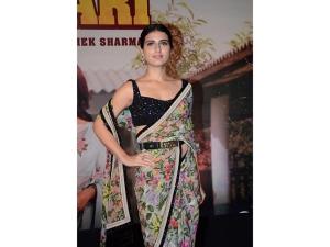 Fatima Sana Shaikh S Floral Saree For Suraj Pe Mangal Bhari Promotions