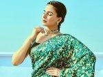 Kirti Kulhari In A Green Printed Saree For Criminal Justice Promotions