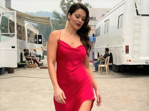 Fan Actress Waluscha De Sousa In A Red Slit Dress On The Sets Of A Shoot