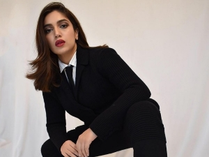 Durgamati Actress Bhumi Pednekar In Formal Black Suit And Classy Handbag