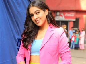 Atrangi Re Actress Sara Ali Khan In Colourful Outfit At The Filmcity In Mumbai
