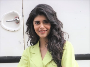 Sanjana Sanghi In Green Suit On The Sets Of Indian Idol To Promote Her Latest Song