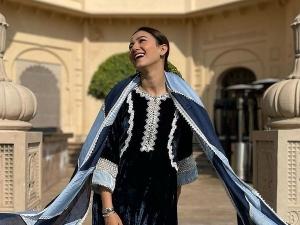 Tandav Actress Gauahar Khan S Velvet Suit Look