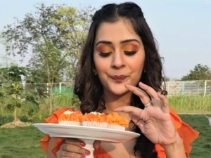 Payal Rajput S Glam Eye Makeup Look In The Shades Of Orange And Yellow