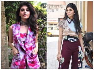 Dil Bechara Actress Sanjana Sanghi In Maroon And Pink Printed Pants