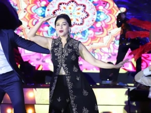 Madhuri Dixit In A Black Indo Western Ensemble At The Launch Of Dance Deewane