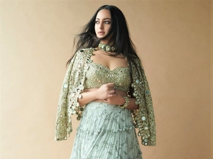 Bhuj Actress Sonakshi Sinha In An Olive Green Skirt Set On Instagram