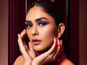 Jersey Actress Mrunal Thakur S Bold Makeup Look In Purple Eyeshadow And Pink Lipstick