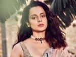Birthday Star Kangana Ranaut In Peach Saree For Thalaivi Trailer Launch