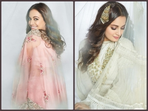 Newly Wed Actress Dia Mirza In Dreamy Lehengas And Saree For Photoshoot