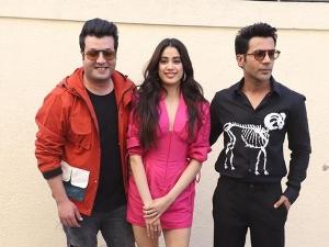 Janhvi Kapoor Rajkummar Rao And Varun Sharma For Roohi Promotions