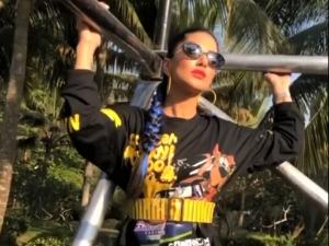 Splitsvilla Host Sunny Leone S Black Printed Co Ord Set And Blue Braid Hairstyle