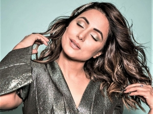 Hina Khan Glams Up In Copper Green Eyeshadow And Glossy Nude Lips